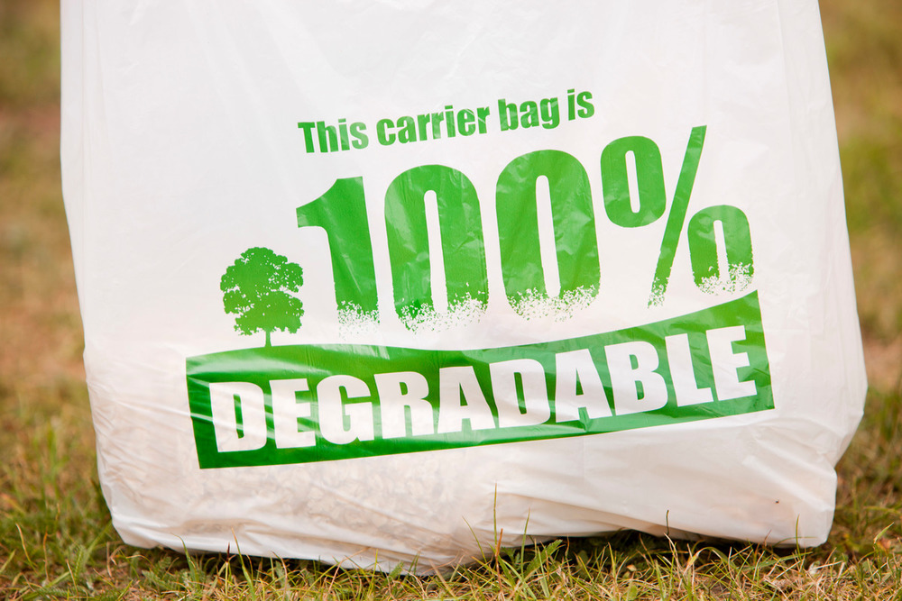 A 100% biodegradeable plastic carrier bag.